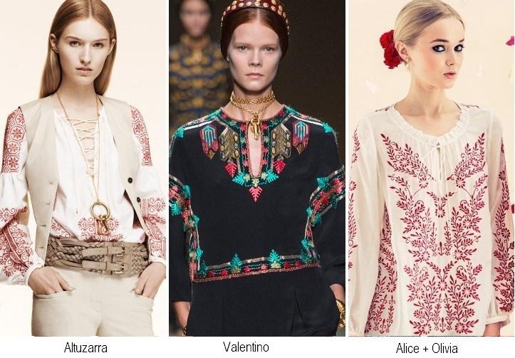 Модная вышивка на блузке