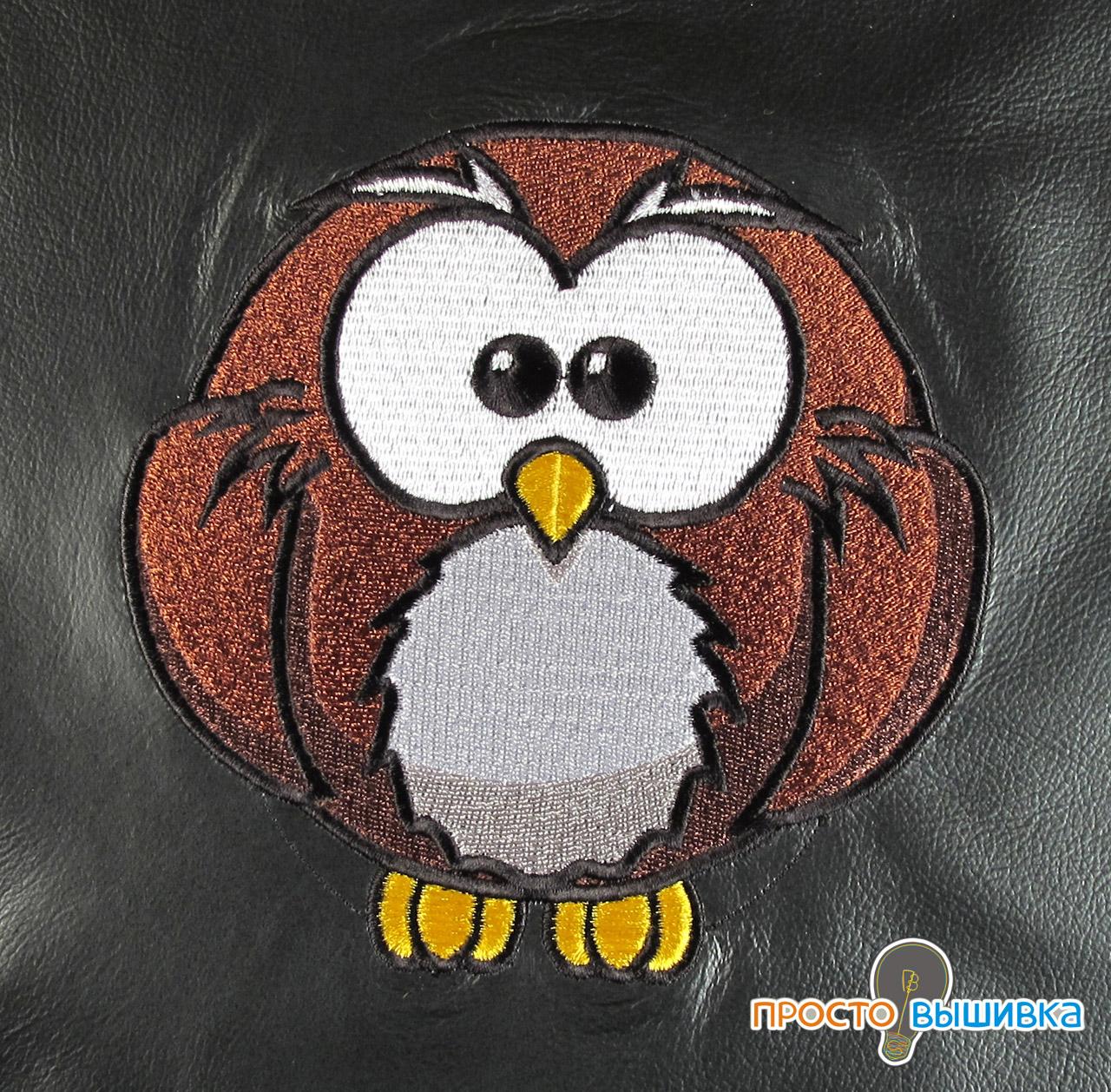 Машинная вышивка совы